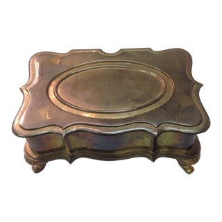 Vintage Brass Footed Box For Sale