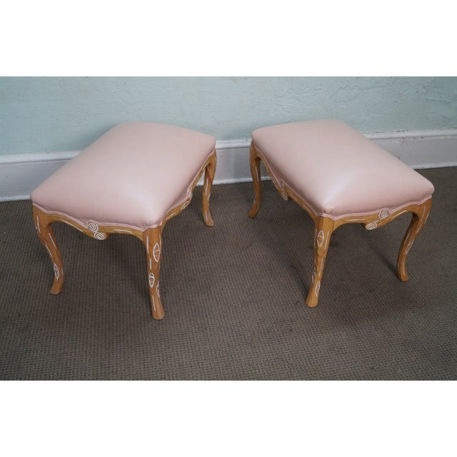 Unusual Faux Branch Leather Ottomans - A Pair - Image 4 of 10