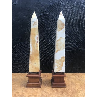 Vintage Neoclassical Solid Stone Mounted Obelisks -A Pair Preview