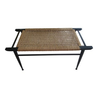Vintage Mid-Century Modern Woven Rope Ebony Stained Wooden Bench
