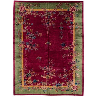 "Apadana - Antique Chinese Art Deco Rug 10' x 13'4"" For Sale"