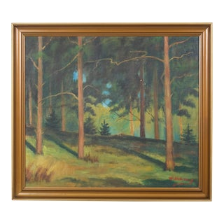 "An Expressionist Style Painting of a Forested Landscape by ""Williams"" For Sale"
