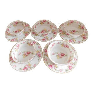 Limoges Elite Porcelain Ramekins and Under Plates With Pink Flowers - Set of Five For Sale