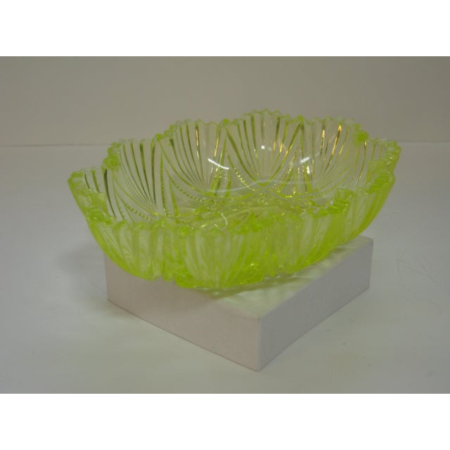 Mid-Century Modern Antique Canary Yellow Vaseline Glass Candy Dish For Sale - Image 3 of 7