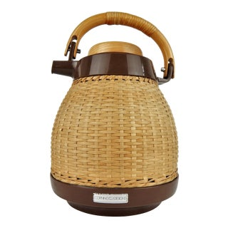 Corning Designs Woven Rattan Thermos For Sale