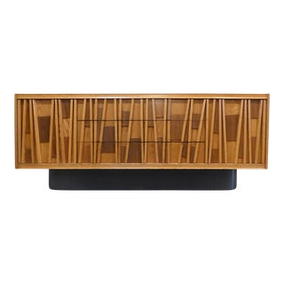 1950s Brutalist Oak Credenza For Sale