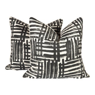Black and Ivory Graffiti Pillows, a Pair