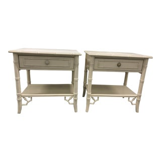 Late 20th Century Thomasville Chinoiserie Faux Bamboo Nightstands - a Pair For Sale