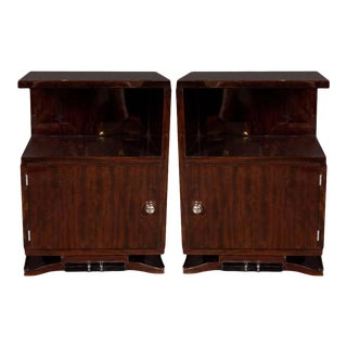 Art Deco Machine Age Nightstands / End Tables with Glass Orbital Pulls - a Pair For Sale