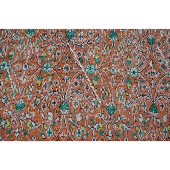 Islamic Vintage Handwoven Floral Design Turkish Oushak Rug - 5′2″ × 9′ For Sale - Image 3 of 6