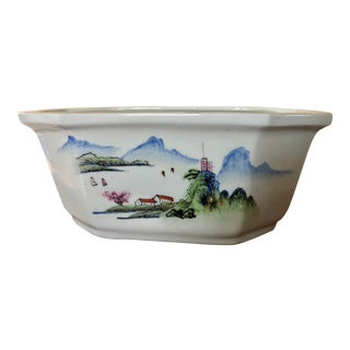 Vintage Chinese Hand-Painted Planter For Sale