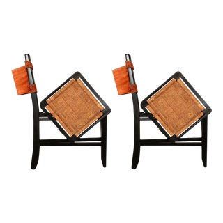 Clara Porset Mexican Modernist Cane Folding Chairs 1950s For Sale