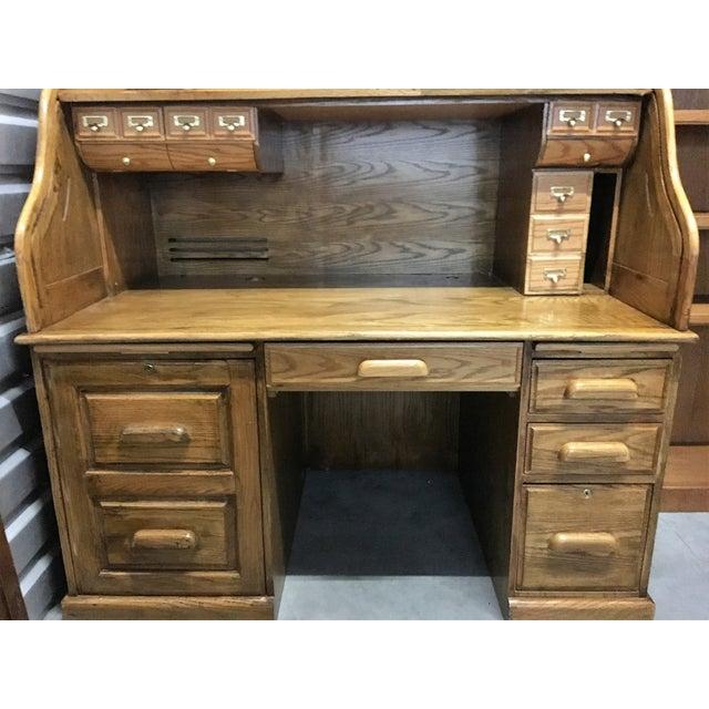 Large Solid Oak Roll Top Desk - Image 5 of 10