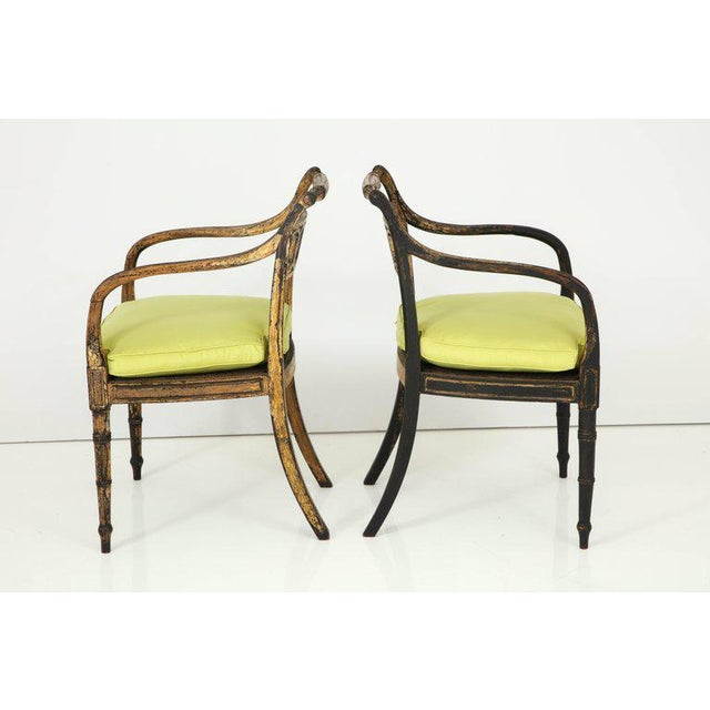 Mid 19th Century Pair of English Regency Painted and Parcel-Gilt Side Chairs For Sale - Image 5 of 10