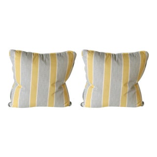 Pair of Duralee Eze in Lemon Printed Stripe Pillows For Sale