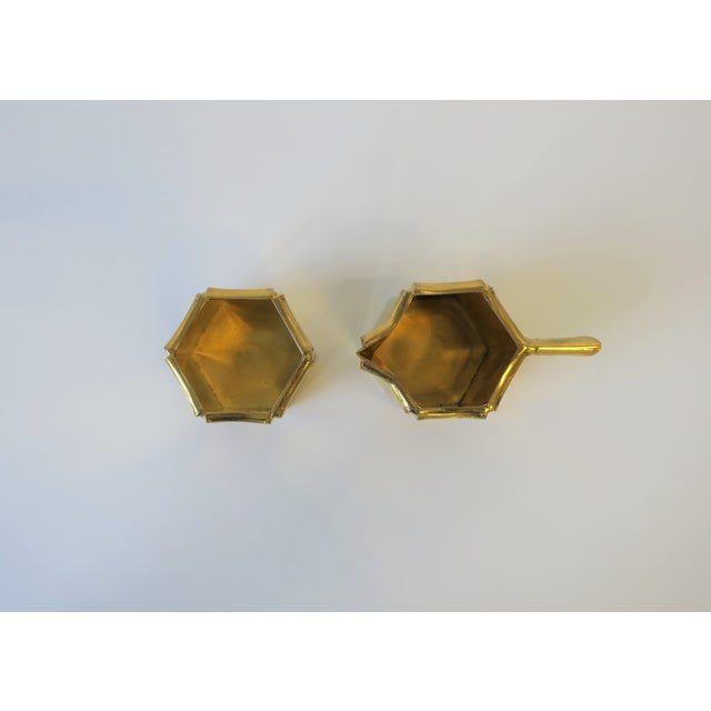 1970s Brass Bamboo Creamer & Sugar Set in the Hollywood Regency Style - a Pair For Sale In New York - Image 6 of 9
