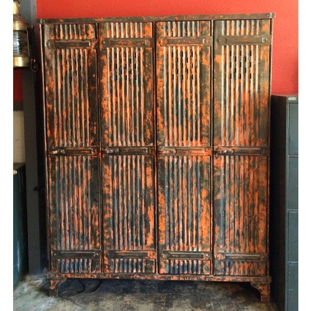 1930's French Vintage Industrial 4 Door Locker - Image 3 of 11