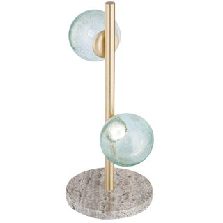 "New ""Craquele/T"" Handmade Sculpture Table Lamp With Art Glass For Sale"