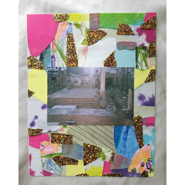 """8.5"""" x 11"""". Collage made of recycled paper, glitter paper, vintage textiles and 35mm analog photo."""