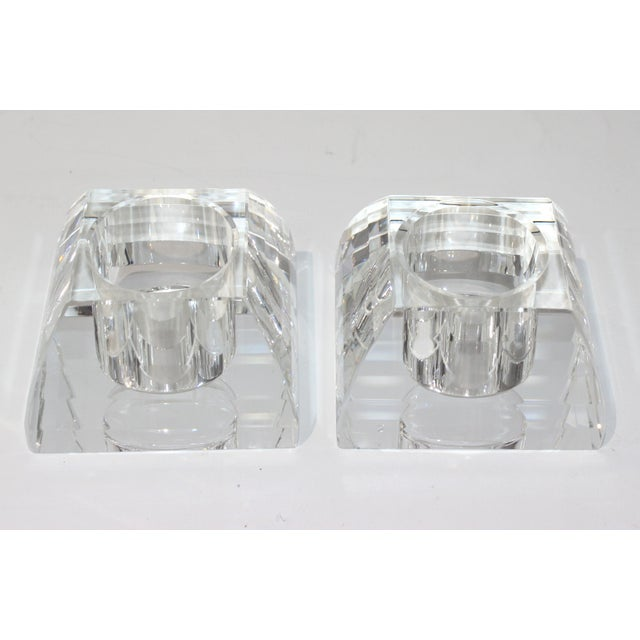Oleg Cassini Vintage Oleg Cassini Faceted Crystal Pyramid Votive Candle Holders - a Pair -With Original Gift Boxes For Sale - Image 4 of 10