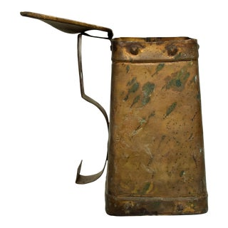 Antique Colonial Firelighter Patinated Brass Old Decorative Vessel Container Usa For Sale