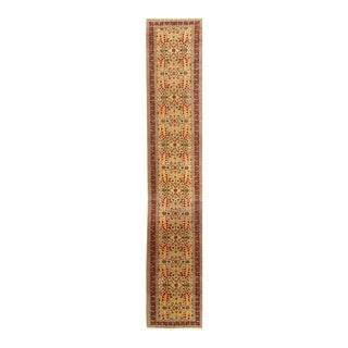 Beige Color Fine Hand Knotted Turkish Hereke Runner 3'3'' X 20'6'' For Sale
