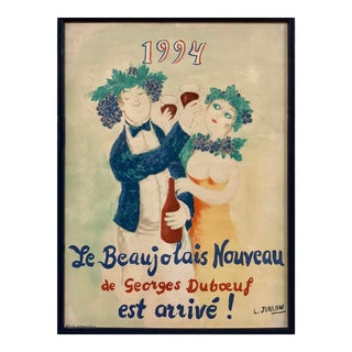 1994 Beaujolais Nouveau Lithographic Poster by Swedish Artist L. Jirlow