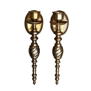Brass Candlestick Wall Sconces - A Pair