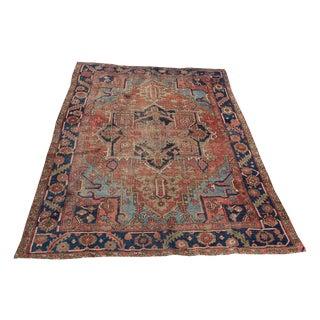 """61384 Antique Persian Heriz Wool Rug - 7'6""""x9'3"""""""