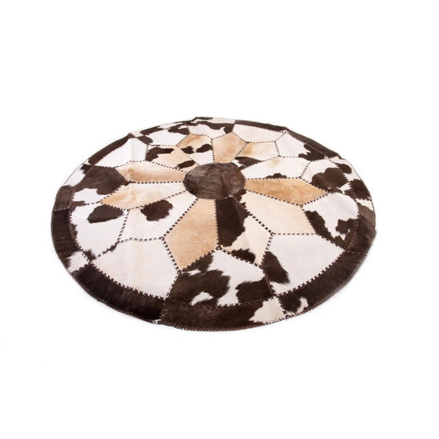 """Cowhide Patchwork Round Area Rug - 6'6""""x6'6"""" - Image 2 of 6"""