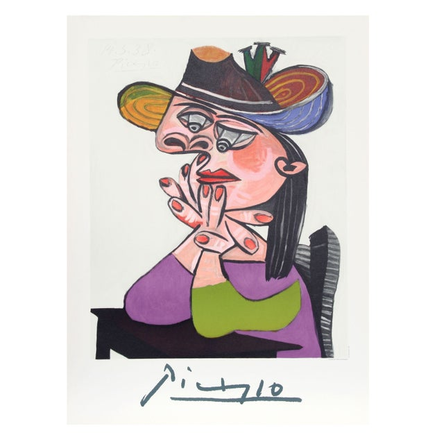 Pablo Picasso - Femme Accoudee en Robe Mauve Et An - Image 1 of 2