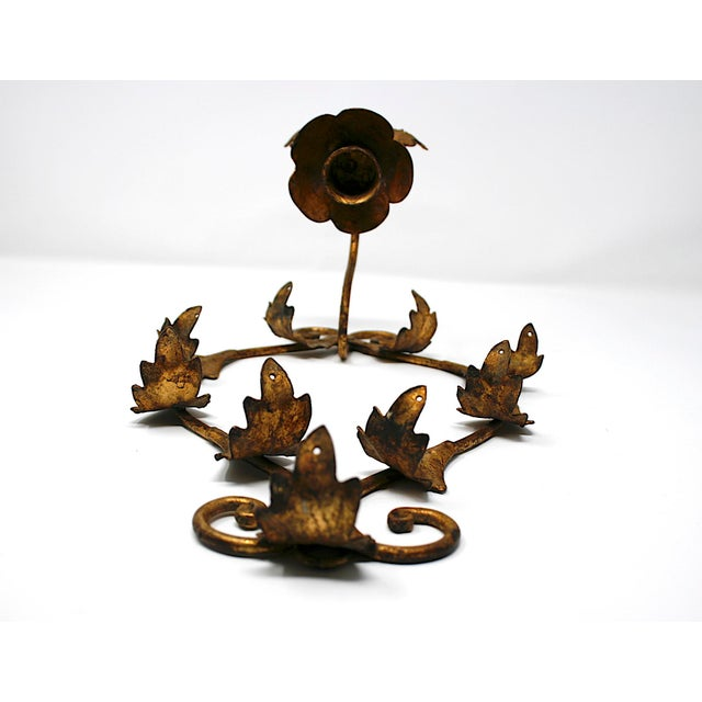 Vintage Italian Gilt Wall Sconce For Sale - Image 4 of 6