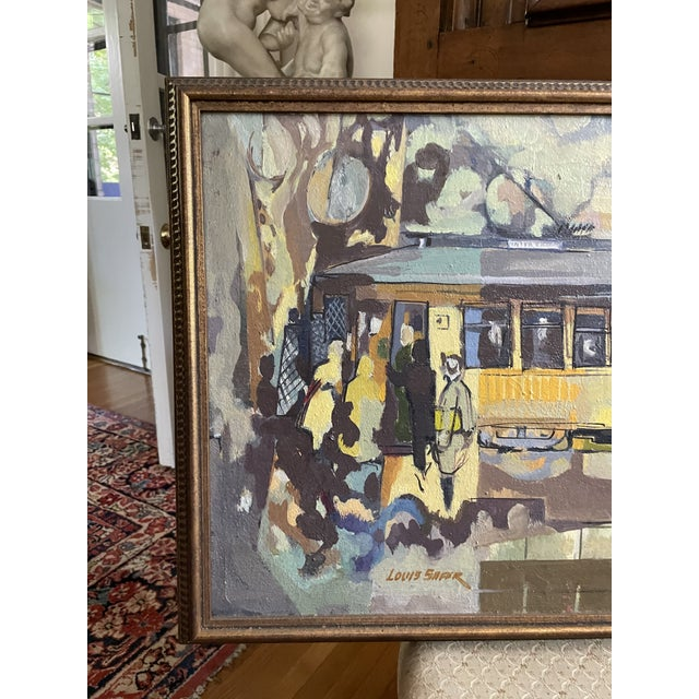 Vintage Circa 1954 Oil on Board by Minnesota Artist and Professor Louis Safer. Depicts the last trolley car service that...