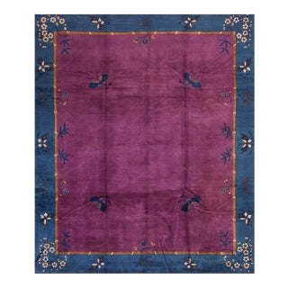 Antique Chinese Art Deco Purple Rug-8′ × 9′8″ For Sale