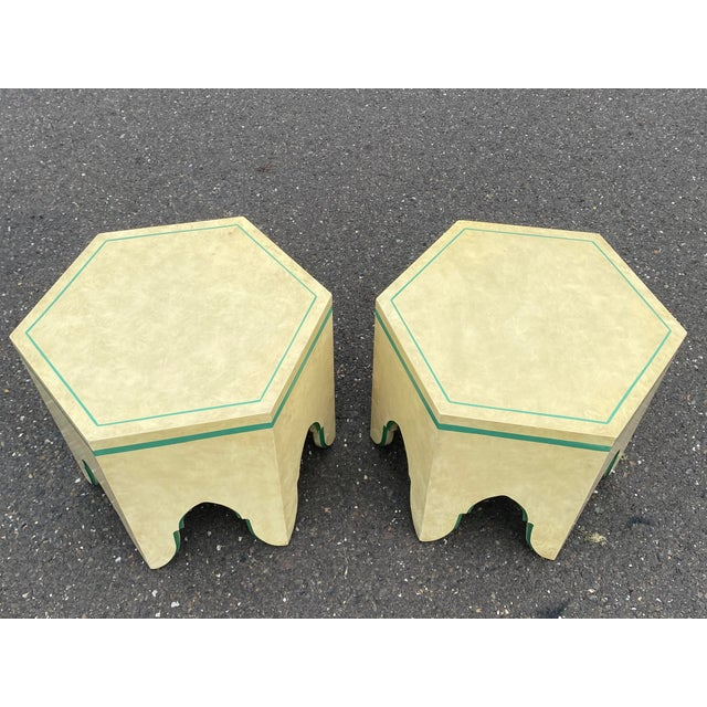1960s Vintage Moroccan Hexagon Lacquered Side Tables - a Pair For Sale In Philadelphia - Image 6 of 11