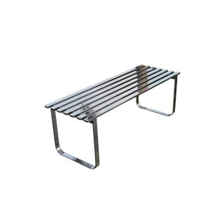 Vintage Milo Baughman Mid-Century Modern Steel Chrome Slat Bench For Sale