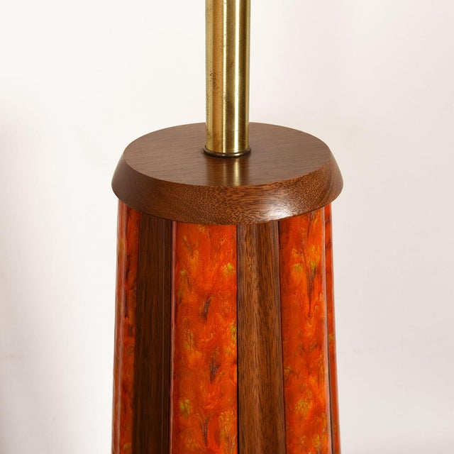 Pumpkin Mid-Century Walnut & Orange Enamel Lamp's, Pair For Sale - Image 8 of 10