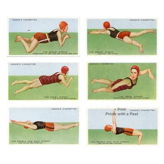 1935 Swimming Collector Cards, Set of 6 For Sale