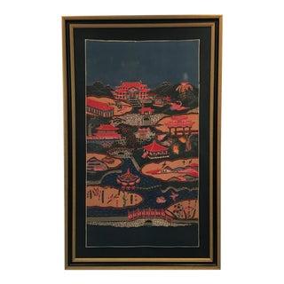 Vintage Pink and Indigo Bingata Chinoiserie Style Painting