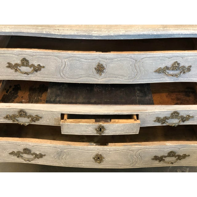 Gray 18th. C. French Louis XV Polychromed Commode For Sale - Image 8 of 13