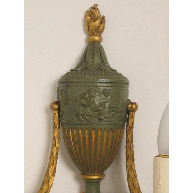 Gilt Metal Neoclassical Style Sconces - A Pair - Image 4 of 4