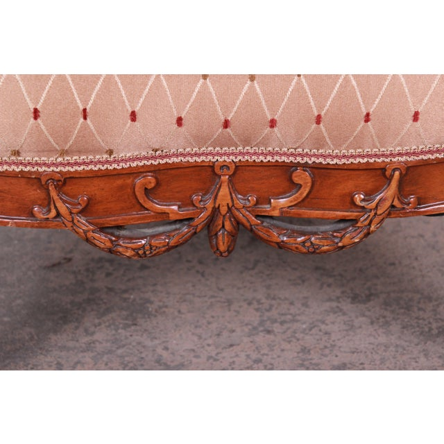 Antique French Carved Wing Back Lounge Chair For Sale - Image 10 of 13