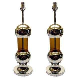 Vintage Nickel Amber Table Lamps - A Pair