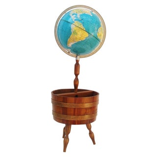 World Globe With Wooden Magazine Stand For Sale