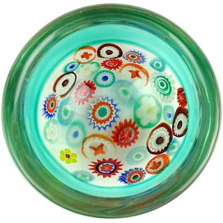 Archimede Seguso Murano Green Millefiori Canes Italian Art Glass Incalmo Bowl For Sale