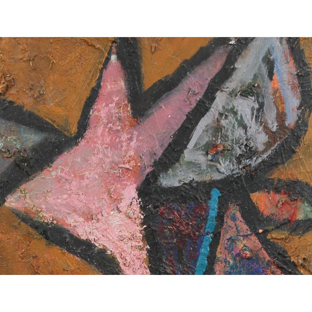 This circa 1950s oil on wood panel textured abstract is by Bay Area painter, printmaker, and designer Calvin Anderson (b....