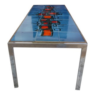 Abstract Painted Ceramic Tile Table
