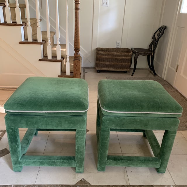 John Mascheroni for Swaim Emerald Green Velvet Parsons Stools - a Pair For Sale - Image 10 of 10