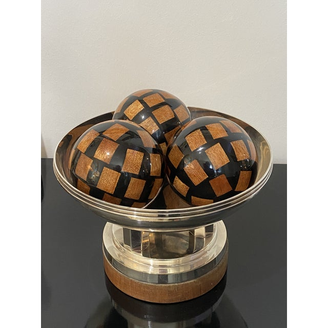 Vintage Decorative Spheres of Random Lacquered Mahogany Chips - 5 Are Available For Sale In West Palm - Image 6 of 7
