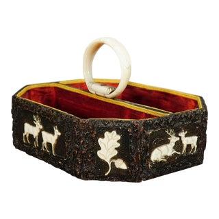 Antique Black Forest Basket With Carved Horn Plaques, Ca. 1860 For Sale